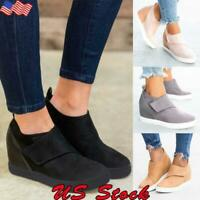 Women Chunky Heightening Platform Casual Suede  Fashion Shoes 8cm/3.15inch US
