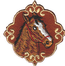 HORSE HEAD (FRAMED) - ANIMALS, FARM, WESTERN - IRON ON EMBROIDERED PATCH