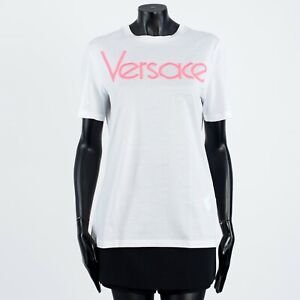 VERSACE 350$ White Cotton Crewneck Tshirt With Embroidered Vintage Logo
