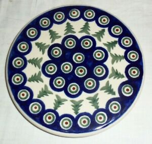 Polish Pottery Trivet, Boleslawiec Hand Made Trees  & Peacock Feather Birds Eye