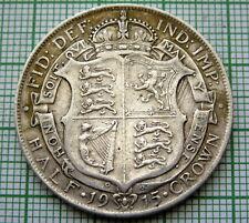 GREAT BRITAIN GEORGE V 1915 HALF 1/2 CROWN, 0.925 SILVER