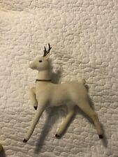 Vintage Plastic Blow Mold White Felt Deer Reindeer Animal Toy Figurine Japan
