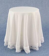 Maison De Poupées Rond Entourée Table avec Blanc Nappe Miniature 1:12 Meubles
