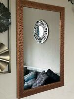 48x 69cm METALLIC MOSAIC EFFECT COPPER WALL MIRROR BATHROOM GIRLS ROOM MIRROR