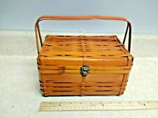 Vintage Cane Bamboo Reed Rattan Basket Purse 1950's Unique Rare Made In Japan