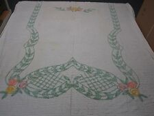 VINTAGE WHITE CHENILLE BEDSPREAD WITH GREEN LEAF & PASTEL ROSES 90 X 98