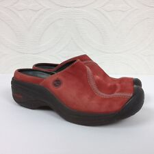 Women's KEEN Red Leather Slip On Clogs Shoes Mules Comfort Size 6 Stained