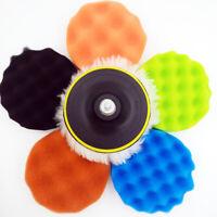 """7pcs 125mm 5"""" Car Wool Sponge Pads Buffing Polishing Waxing Polisher Buffer Kit"""