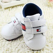 Toddler Baby Boy White Crib Shoes Casual Sneakers Soft Soles Size 0-18Months/M