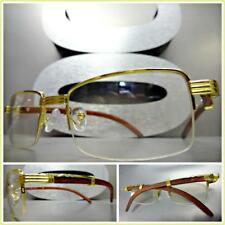 Mens CLASSY MODERN SOPHISTICATED Clear Lens EYE GLASSES Gold & Wood Wooden Frame
