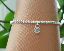 silver plated stretchy stacking bracelet with clear Crystal charm