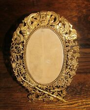 antique brass bronze chinese? frame with figurals gargoyle flowers bamboo leaves