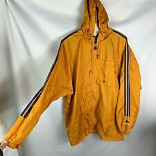 Adidas mens nylon jacket size xl windbreaker hooded yellow blue full front zip