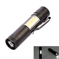 Mini Portable Aluminum Q5 LED Flashlight XPE&COB Work Light  Pen Torch Lamp LF
