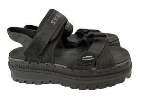 Skechers River Jammers Sandals Womens Tough Shoes Platform Black Size 8