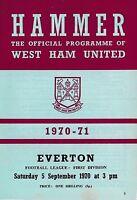 Football Programme>WEST HAM UNITED v EVERTON Sept 1970