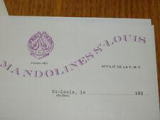 LOT 1920 ancien COURRIER société de MANDOLINES saint louis 68300 FACTURE MUSIQUE