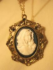 Lovely Scalloped Swirl Rim Blue & White Madonna & Child Cameo Pendant Necklace