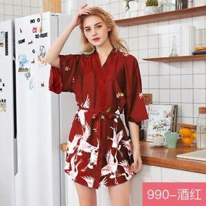 Women's Satin Robe Kimono Dress Gown Wedding Lingerie Bridesmaid Sleepwear Night