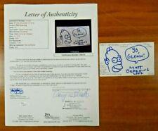 Matt Groening Signed 3x5 Art Sketch Homer Simpson Index Card w/ Full JSA Letter