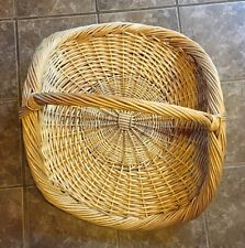 "Large Wicker Basket Flat Herb Flower Gathering Chic Vintage Woven Rattan 22""x29"""