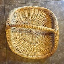 "Large Wicker Basket Flat Herb Flower Gathering Chic Vintage Woven Rattan 22""x29"""