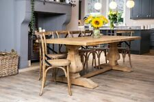 More details for 2m reclaimed pine french country farmhouse style dining table with two pedestals
