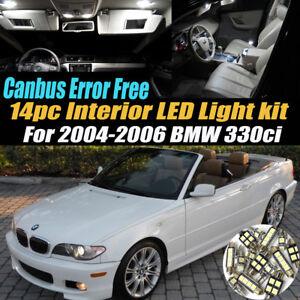 14Pc CANbus Error Free Interior LED White Light Kit for 2004-2006 BMW 330ci