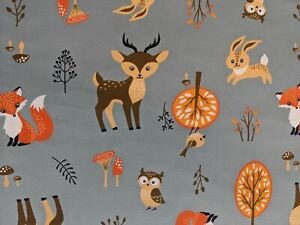 Forest Animal Cotton Jersey Old Mint (By the Half Metre) Stretch Fabric Fox Deer