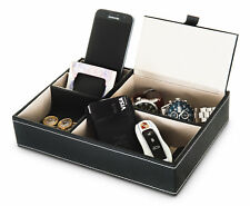 5 COMPARTMENT LEATHER VALET TRAY WALLET OFFICE JEWELLERY STORGE ORGANISER BOX