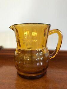 Vintage Depression glass amber water jug pitcher etched floral design 16.5 cm