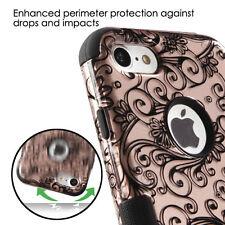iPhone 7 - Hard&Soft Rubber Hybrid Armor Skin Case Cover Rose Gold Flower Swirls