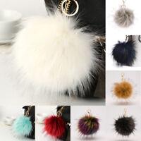 LC_ Fluffy Large 16cm Faux Fox Fur PomPom Ball Car Handbag Keychain Key Ring