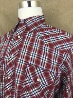 Wrangler Western Shirt Pearl Snap Red Multi color Men's Long Sleeve Plaid Size L