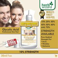 10% GLYCOLIC ACID Chemical Peel Kit Medical Grade 100% Pure! Acne-Scars-Wrinkles