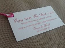 100 Handmade Personalised Drink Favour Token Voucher Ticket Wedding with ribbon