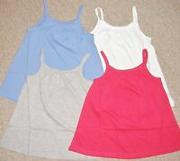 GIRLS SPAGHETTI STRAP VEST TOP IN WHITE,PINK,BLUE OR GREY AGE 4 TO 12 YEARS