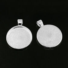 Pendant Cabochon Settings for 25mm Cabs Ant Silver 10 Pieces Nickel & Lead