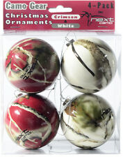 NEXT CAMO CHRISTMAS ORNAMENTS - RED & WHITE CAMOUFLAGE - HOLIDAY DECOR