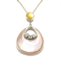 "Large Authentic .925 Silver Pink Yellow MOP mother of pearl pendant 18"" chain"