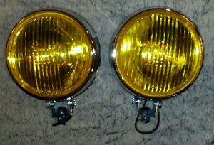 Round amber bumper off road 4x4 fog lights lamps new pair amber steel glass set