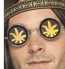 AÑOS 60 Hippy Disfraz HOLOGRAFICO Gafas con hoja de marihuana diseño de Smiffys