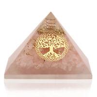 Extra Large 70-75MM Rose Quartz Stone Orgorne Tree Life Gemstone Pyramid Organit