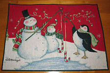 Chilly Chums Snowmen & Penguin Christmas Tapestry Placemat