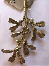 Mistletoe Christmas Mistletoe Branch Hanging Decoration Gold