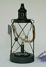 Vintage Black Metal LED Bulb Lantern Hanging Table Top Lamp Rope Handle Garden