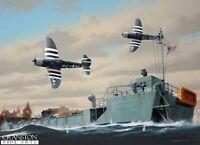 war Military art post card Battle of Normandy D Day landings Thunderbolt fighter
