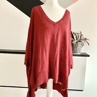 PHASE EIGHT Red Linen Blend JUMPER Size M | Smart Casual Warm Batwing