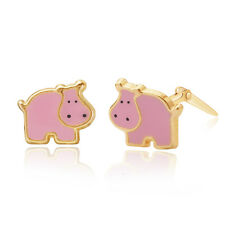 9ct yellow gold pink enamel hippo Andralok stud earrings / gift box