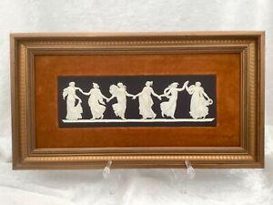 Wedgwood Jasperware. Framed Dancing Hours Plaque. Black Basalt. Marked. A/F